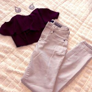 Aeropostale Light Beige Skinny Jeans (Size 25)